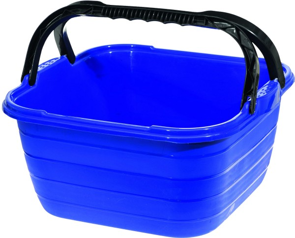 Washing Bowl square with carrying handle, blue