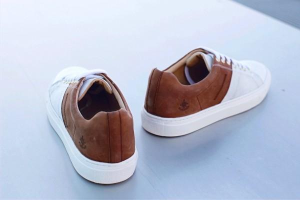 """Sneaker """"Genoa"""" mit recyceltem Segeltuch tan/weiß"""