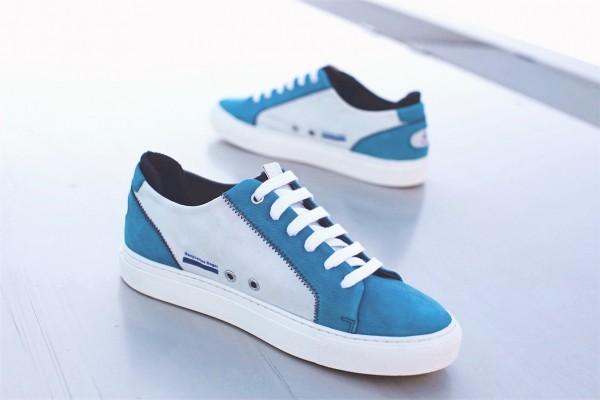 """Sneaker """"Jib"""" mit recyceltem Segeltuch atoll /weiß"""