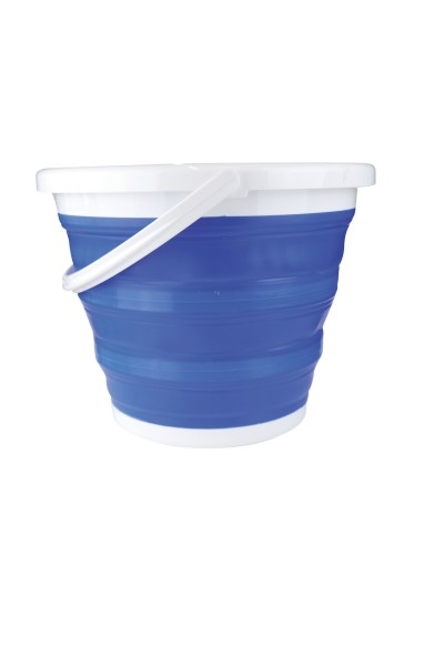 Foldable Silicone Bucket, blue 10 litres, with reinforcement